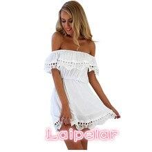 2018 new style summer Women white black lace stitching dress Off shoulder strapless sexy Slash neck mini dresses Laipelar