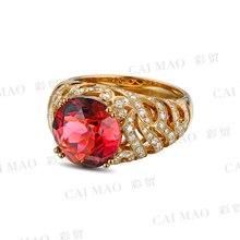 CaiMao 4.50ct Natural Pink Tourmaline & 0.88ct Diamond 18k Yellow Gold gemstone engagement ring Fine Jewelry