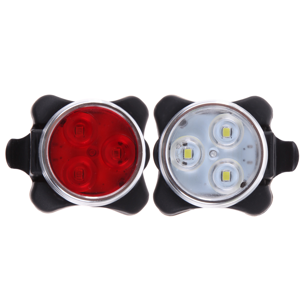 Practical cycling bicycle bike 3 led head front rear tail light rechargeable battery with usb charging