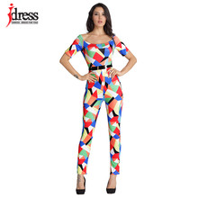 IDress S-XL Women Clothing Contrast Color Bodycon Jumpsuit Sexy Party Off Shoulder One Piece Summer Rompers Womens Jumpsuit(China)