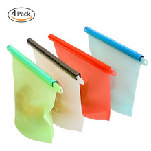Reusable Silicone Food Storage Bags Airtight Zip Seal, Eco Friendly, Hot or Cold, Meat, Fruit, Vegetables. Keeps Food Fresh