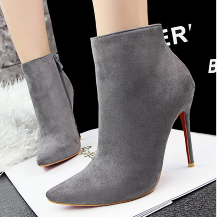New 2015 Women's Ankle Boots Black Boots Thin High Heels Women's ...