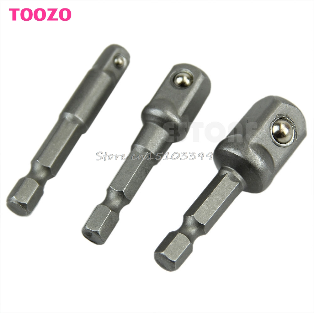 3Pcs New Socket Adapter Set Hex Shank to 1/4,3/8,1/2 Impact Driver Drill BIts #G205M# Best Quality best promotion 10pcs set diamond holesaw 3 50mm drill bit set tile ceramic porcelain marble glass top quality