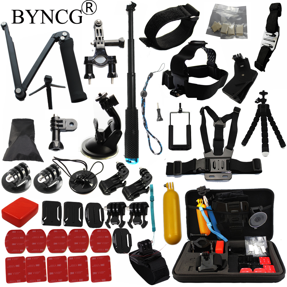 BYNCG for Gopro accessories set for Gopro hero 5 4 3 kit mount for go pro SJCAM SJ4000 for xiaomi yi camera eken h9 tripod 12I