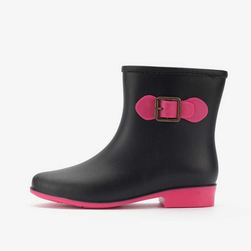 2018 г., женские водонепроницаемые осенние непромокаемые ботильоны с металлической резиновой подошвой женская сдержанная платформа на низком каблуке, модная женская обувь