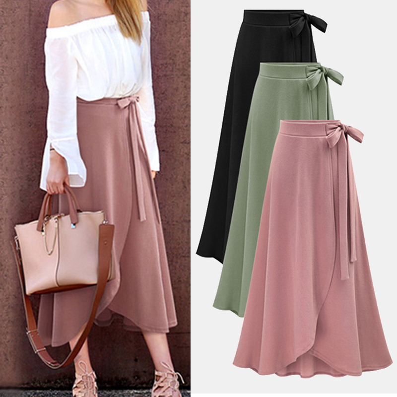 Plus Size Stylish Designed Women's Autumn Asymmetric Slit Solid-color Wrap Long Skirt Lady Daily Casual Bandage Midi Skirt M-6XL 5