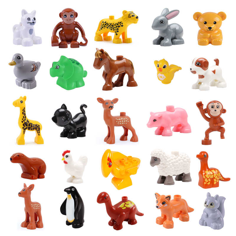 Dinosaur Zoo Animal cat pig DIY Accessories Educational Toys For Children Gift Big Building Blocks Compatible With Duplos Brick