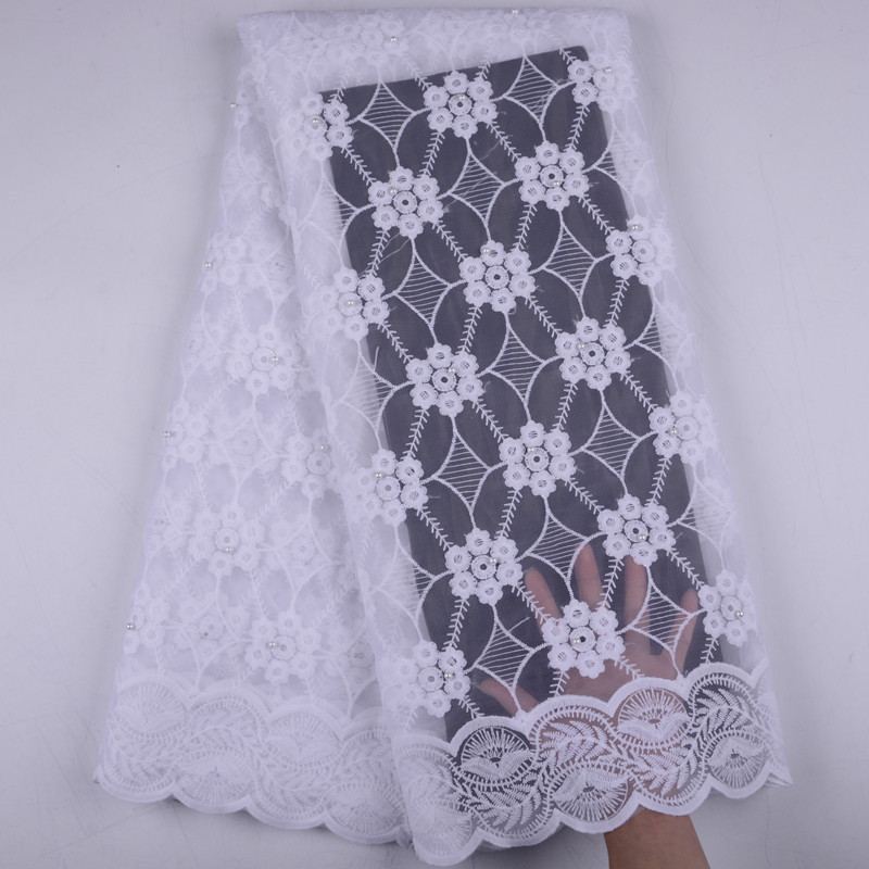 High Quality African 2019 Beads Voile Mesh Lace Fabric Embroidery French Tulle Lace Fabric For Nigerian Party Dress  1505