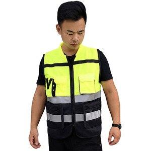 Image 3 - Светоотражающий Жилет высокой видимости, предупреждающий жилет, флуоресцентная одежда с множеством карманов, уличная безопасность, рабочая одежда для дорожного движения
