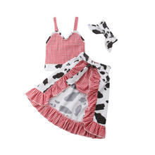 be12d9136e5 Fashion 4Pcs Kids Baby Girl Infant Cow halter T-shirt Crop Tops+Plaid  Ruffles Skirts+PP Pants+Headband Cute Outfits Clothes