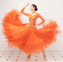 Ballroom Competition Dance Dresses Women Long Sleeve Orange Waltz Dance Skirt Standard Ballroom Dancing Dress Adult standard ballroom dresses women 2019 new design white waltz dancing skirt adult high quality ballroom competition dance dress