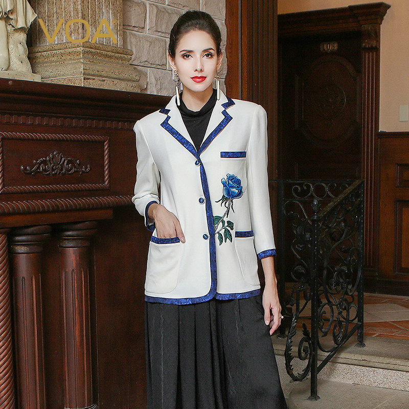 VOA White Heavy Silk Blazer Women Vadim Vintage Chinese Embroidery Office Ladies Business Suit Jacket Luxury Slim Coat WSH00201