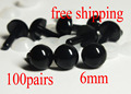 Free Shipping!! 6mm black Safety eyes amigurumi eyes doll eyes/ Needle felting doll plastic eyes---100pairs