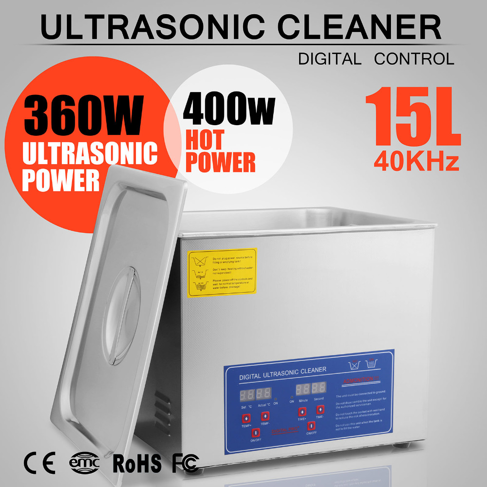 15 L Liter Stainless Steel Industry Heated Clean Glasses Ultrasonic Cleaner