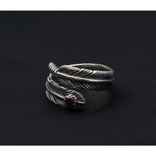 100% Pure 925 Sterling Silver Jewelry Feathers Opening Ring For Unisex Birthday Gift 156