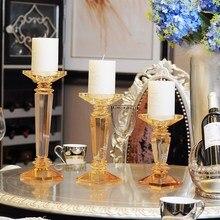 Europe Crystal candle holders Glass gold centros de mesa para boda home decor wedding centerpieces for tables