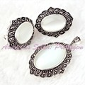 Free Shipping Oval White Cat Eye Gem Stone Beads Marcasite Tibetan Silver Classical Lady Party Pendant Earrring 22x26mm/25x35mm