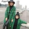 Осень Зима детские мама семьи сопоставления одежда повседневная мать дочь платья мода семья соответствующие наряды Зеленый пальто