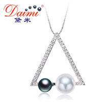 DAIMI 2017 New White Black Pendant 4-7mm Natural Pearl Pendant Silver Geometry Pendant Necklace High Quality Fine Jewelry