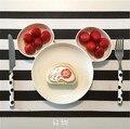 2016 Nuevos Lindos del Bebé de Alimentación Placa de Melamina Platos de Frutas Para Niños Blanco Negro Rojo Color Vajilla Infantil Conjunto