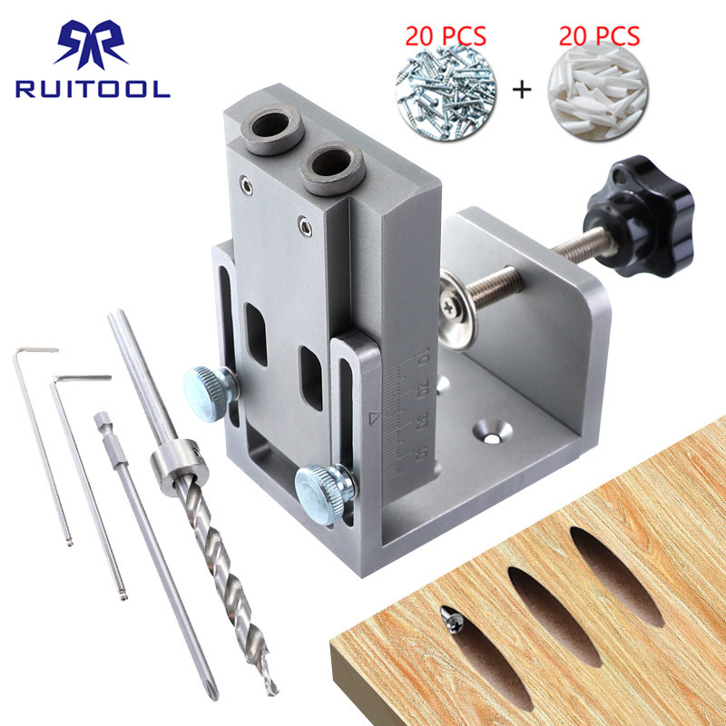 Pocket Hole Jig 9mm Wood Drill Aluminum Alloy Dowel Jig Pocket Hole Puncher Drill Guide Tool