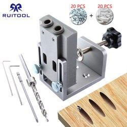 Bolsillo agujero plantilla 9mm de madera taladro de aleación de aluminio de pasador plantilla bolsillo perforadora guía de broca herramienta para carpintería