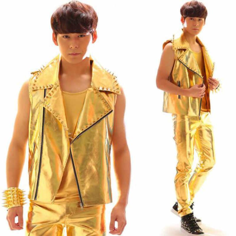Altın deri yelek deri pantolon takım elbise gece kulübü erkek şarkıcı bar DJ rock punk sokak dans kostümleri
