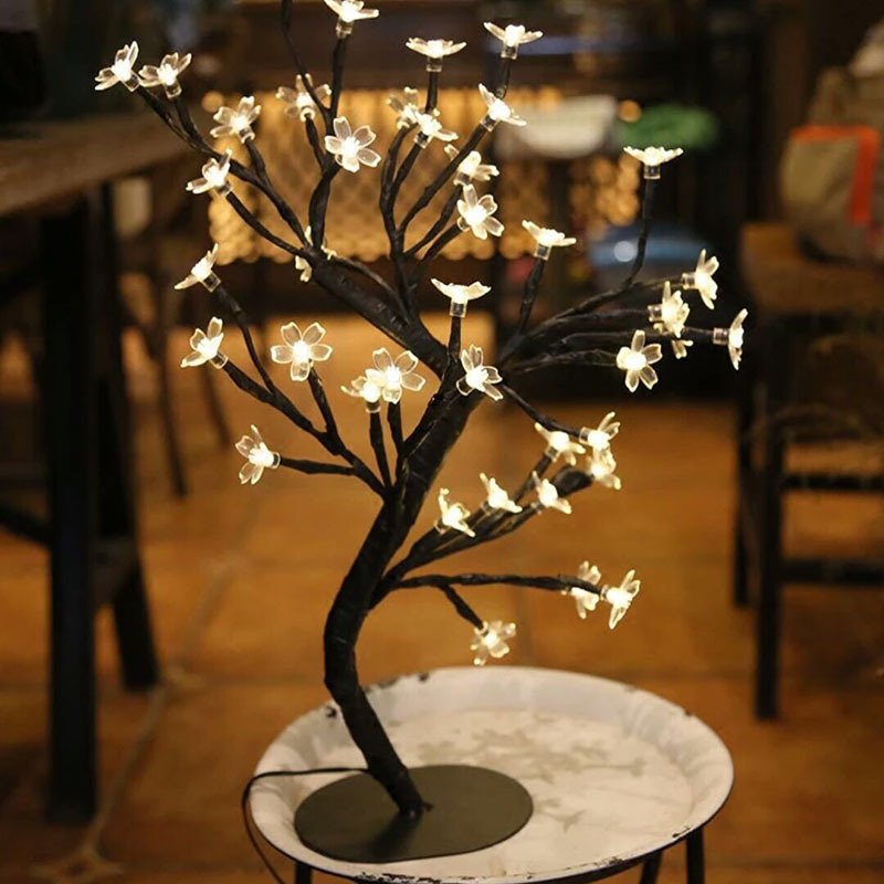 Mini LED Crystal Cherry Tree Lamp Night Table Lamp Fairy Tale Wedding Bedroom Decoration Night Light Luminaria Lighting Lamp