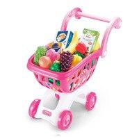 어린이 슈퍼마켓 쇼핑 카트 장난감, 여자 살고 척 카트 과일 야채