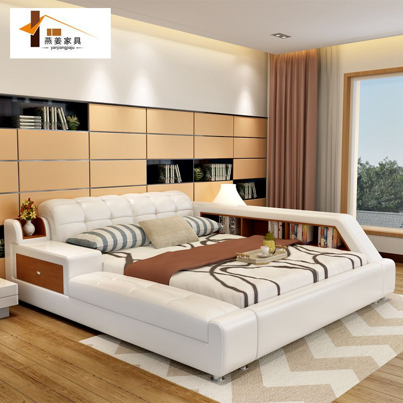 Contemporary Furniture Bed: Bedroom Furniture China Leather Bed Tatami Bed Minimalist