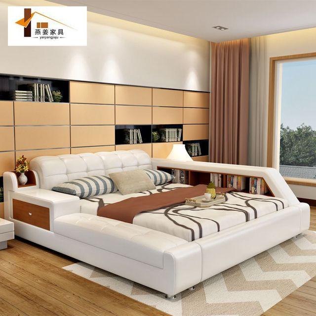 Bedroom Furniture China Leather Bed Tatami Bed Minimalist