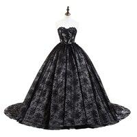 2018 Vintage Ball Gown Abiti Da Sera In Pizzo Scollo a cuore Nero Del Partito di Sera Abito Donna Abiti Da Sposa Reale Del Campione di Nuovo