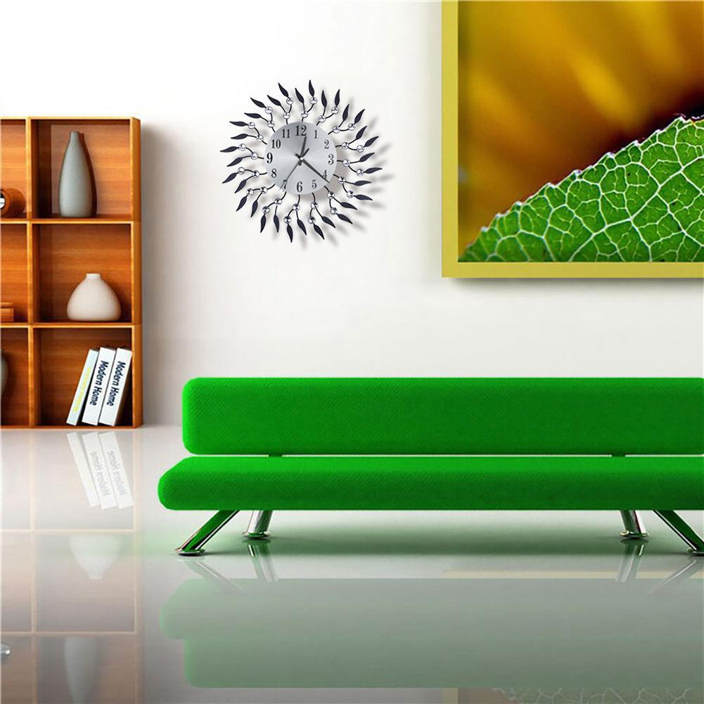 Vintage Rhinestone Round Leaves Home Living Room Quartz Wall Clock Hanging Decor hot