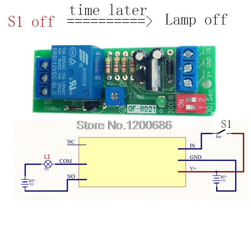 Delay Turn off switch relay DC 12V Delay Time Control Relay 10S 30S 1MIN 5MIN 10min 30min delay off relay