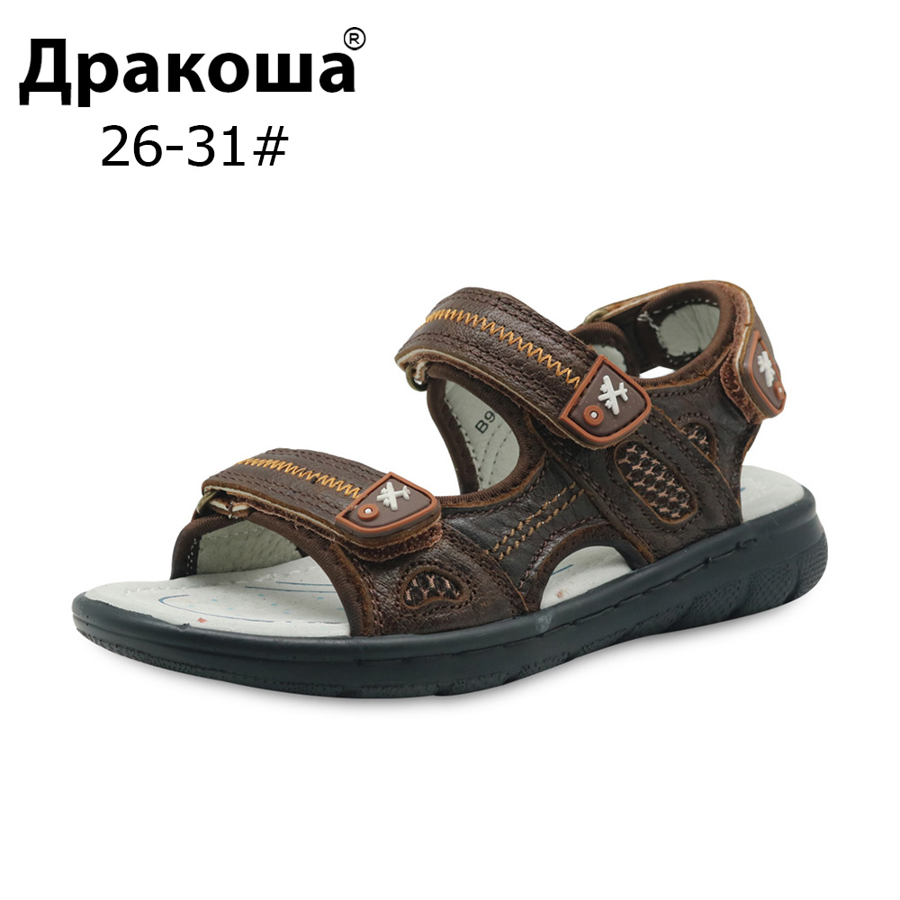 Apakowa Brand New Big Kids Shoes Genuine Leather Boys Beach Sandals with Arch Support Flat ...