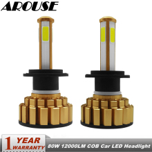 цена на AROUSE H7 H4 H11 LED Headlight Bulbs 9005 9006 COB Chips 80W 12000LM 6000K Car Led Auto Headlamp Headlights Fog Light DC12v 24v