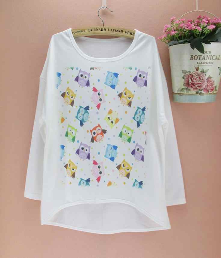Many mini owls printed  women tops plus size clothing wholesale t-shirts 2015 new arrival special style tshirt free shipping
