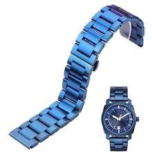 купить Watch Band Bracelet  316l Stainless Steel Blue Silver Women Men Metal Watcbands Strap Straight End Links 18 20 21 22mm 23mm 24mm по цене 715.14 рублей
