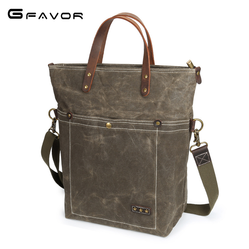 Vintage Canvas Handbag Men Large Capacity Shoulder Messenger Bags Male Computer Bag Fashion Waterproof Travel Crossbody Bags augur men s messenger bag multifunction canvas leather crossbody bag men military army vintage large shoulder bag travel bags