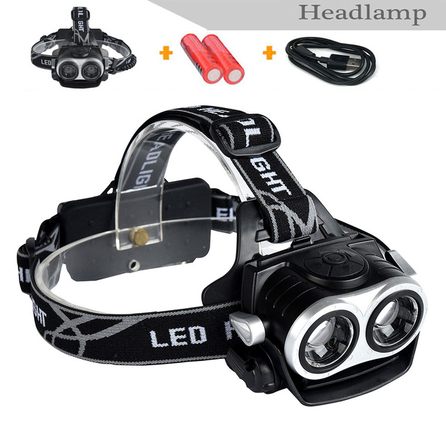 2016New 18650 Battery+ 20W Super Bright Headlight USB Rechargeable Lantern Headlamp  light+1*USB