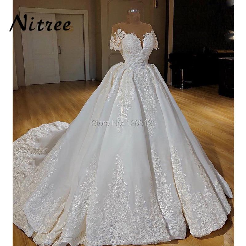 2018 Vestidos Muslim Ball Gown Wedding Dresses Turkish Arabic In Dubai Bling Unique Formal Dress For Weddings Kaftan Glitter