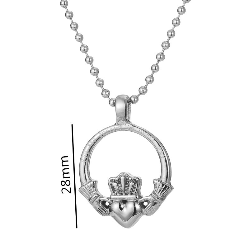 Dainty Stainless Steel Irish Claddagh Pendant Love Loyalty
