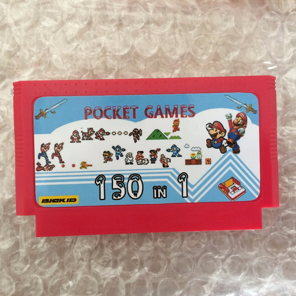 New Arrival <font><b>150</b></font> <font><b>In</b></font> <font><b>1</b></font> Full List Pocket Game 60 Pin Game Card For 8 Bit Game Player Drop Shipping image
