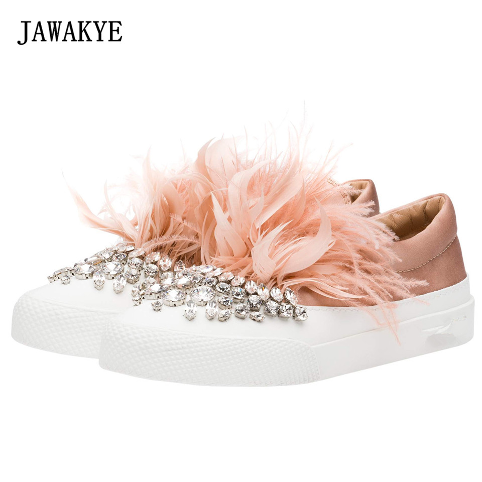 JAWAKYE New fashion Crystal With drill Shoes Woman Feather Rhinestone Bordered Slip on comfortable Casual flats Shoes For Women цена 2017