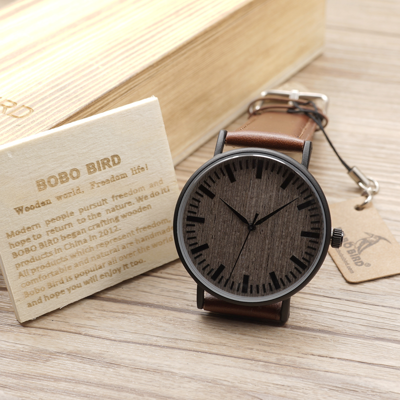 2017 BOBO BIRD Wood Watches Men Leather Strap Unique Wooden Wristwatch for Men and Women Quartz Watches relogio masculino C-E25 bobo bird luxury designer watches men style wooden watch wood strap wristwatch with paper gift box relogio masculino brand top