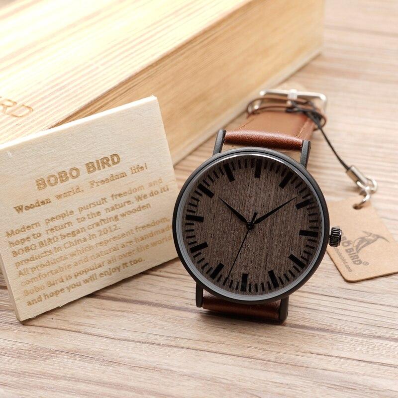 BOBO BIRD relojes de esfera de madera relojes casuales para hombres y mujeres relojes de pulsera reloj de cuarzo masculino C-E25
