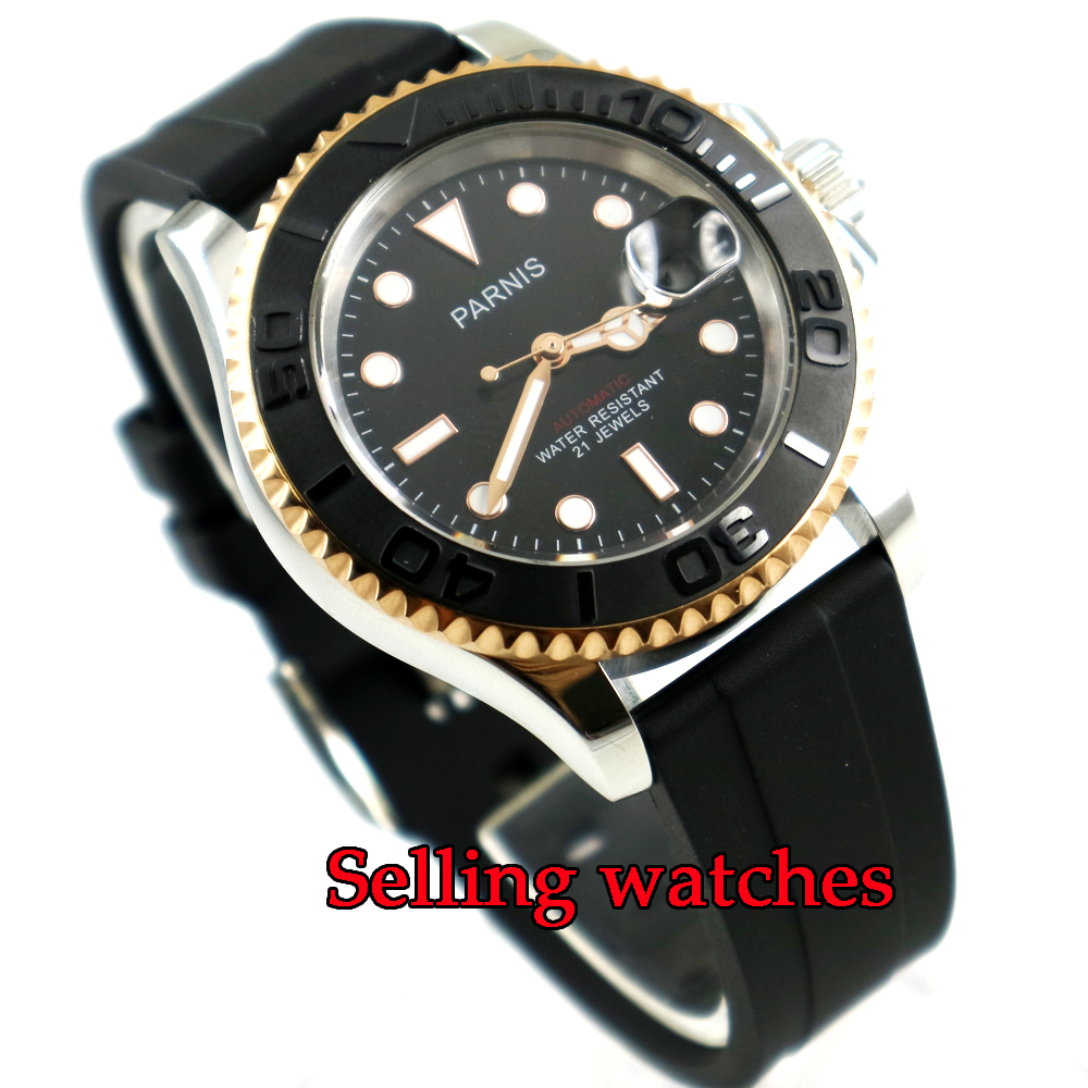 41mm Parnis black dial Sapphire glass golden bezel case miyota automatic mens watch 42mm parnis withe dial sapphire glass miyota 9100 automatic mens watch 666b
