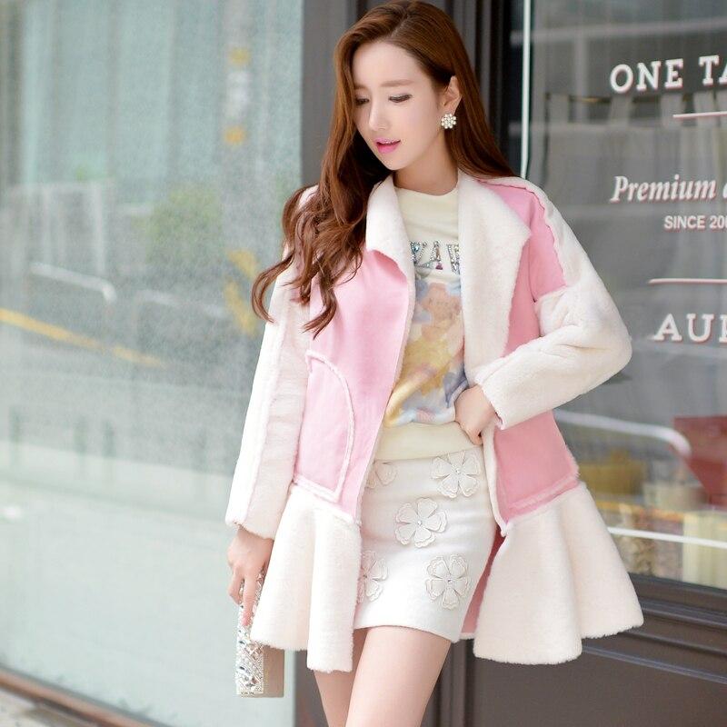 Original 2016 Brand Winter Jacket Women Ruffle Slim Elegant Fashion Long Suede Parka Women Light Pink