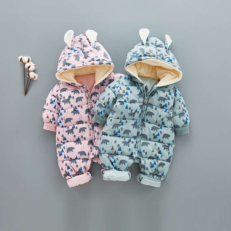 Super Warm Children Winter Jumpsuit Rompers Bear Baby Girl Winter Coat Cartoon Boys Snowsuit Hooded Rompers Baby Overalls 0.8kg купить в Москве 2019