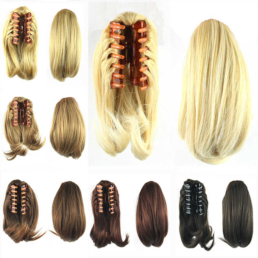 Soowee Hair Ponytails with Clip Hair Bun Synthetic Claw False Hair Ponytail Extensions Hairpiece Headwear for Women Wigs-female
